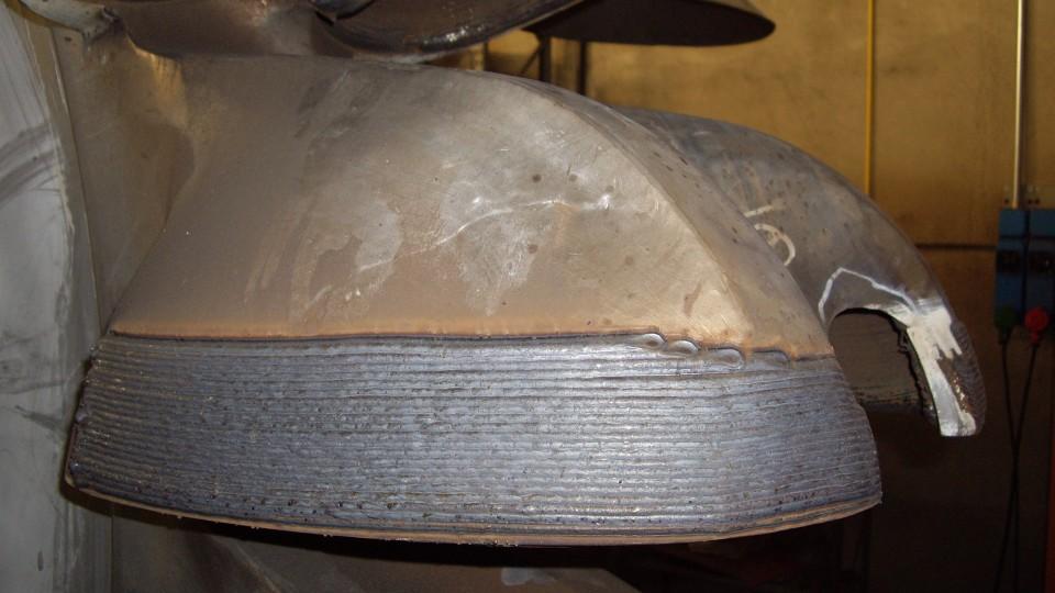 Rigenerazione pelton - paticolare esterno pala saldato